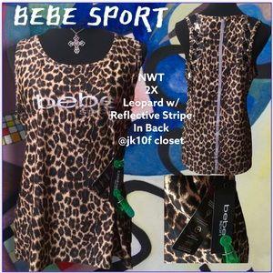 NWT Bebe 2X Leopard Moisture Wicking  Sport Top